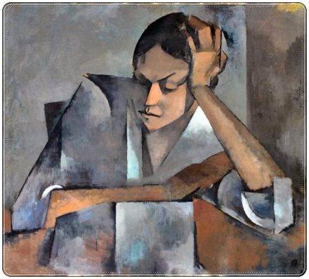 Mujer acodada en mesa_Olga Sacharoff_Óleo sobre lienzo_Ca 1915