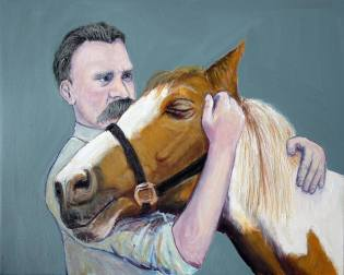 Nietzsche and the Horse Painting by Eric Drass